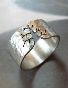 Autumn tree ring, rustic silver ring, hammered ring, metalwork jewelry