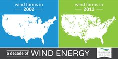 We've come so far! Here's a side-by-side comparison of wind farms in the U.S. from 2002 and 2012. We can't wait to see what this looks like in another 10 years!