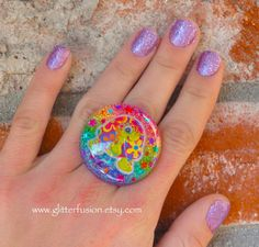Rainbow Hippie Lisa Frank Turtle Ring Rainbow by GlitterFusion