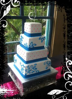 Pink & Blue Wedding Cake