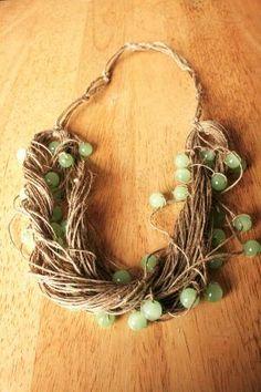 Beaded hemp necklace Pixie necklace Tribal necklace by tatoke