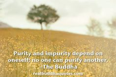 """Purity and impurity depend on oneself; no one can purify another."" http://www.realbuddhaquotes.com/2015/03/purity-and-impurity-depend-on-oneself-no-one-can-purify-another/"