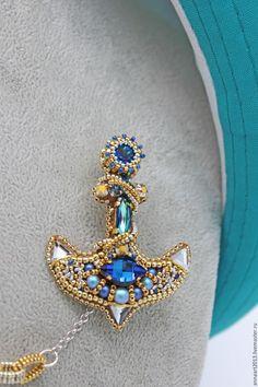 """Купить Парная брошь с цепочкой """"Морская"""" - синий, голубой, синяя брошь, голубая брошь"""