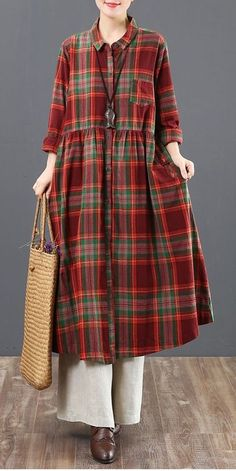 Casual Cotton Linen Plaid Shirt Dresses Women Loose Spring Clothes 6125 spring outfits s. Linen Dresses, Women's Dresses, Casual Dresses, Casual Outfits, Country Outfits, Country Girls, Cotton Dresses, Spring Dresses, Spring Outfits