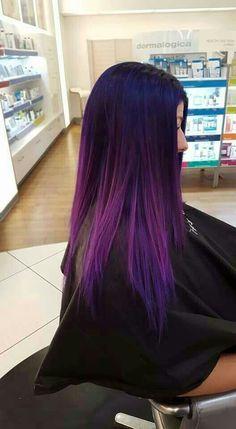 purple ombre hair Shatush viola blu su capelli lisci neri Your Wedding Countdown Th Cute Hair Colors, Beautiful Hair Color, Hair Dye Colors, Cool Hair Color, Hair Color Streaks, Hair Color Purple, Hair Color And Cut, Purple Ombre, Ombre Color