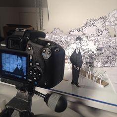 Hinter der #Kamera. #Camera #paper #Papier #papiertheater #basteln #ink #tinte #art #kunst #design #Studium #stopmotion #arbeit #work #projekt #project #photography #fotografie #canon #sketch #drawing #zeichnung #studio #makingof
