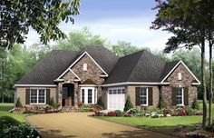 Country European Traditional House Plan 59132 Where stairs would be make a walk-in pantry put garage door on back. European House Plans, Country House Plans, New House Plans, Country Style Homes, Gas Fireplace Logs, Traditional House Plans, Thing 1, Up House, House Floor