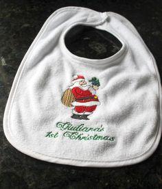 Personalized holiday bib, first christmas bib, first christmas day bib, pvc-free bib, personalized bib, santa bib, holiday bib,christmas bib by MakeItMineEmbroider on Etsy