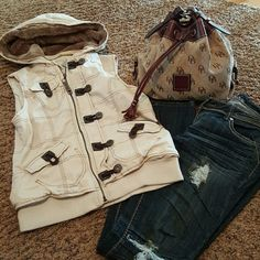 Faux fur lined cream vest Light cream colored vest. Copper button, zipper detail. Removable fur around hood. Pictures show fur on as well as removed. This vest is warm but doesn't add bulk. Perfect for winter layering! Jackets & Coats Vests