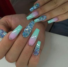 Purple Nail Polish Color Changing to Pink Nail Polish with Pink Glitter Cute Acrylic Nail Designs, Ombre Nail Designs, Best Nail Designs, Turquoise Nail Designs, Nail Art Designs, Summer Acrylic Nails, Best Acrylic Nails, Turquoise Acrylic Nails, Summer Nails