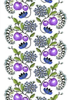 Vallila Persikka by Tanja Orsjoki Pattern Art, Print Patterns, Fruit Art, Flower Prints, Joy, Colours, Shapes, Texture, Floral