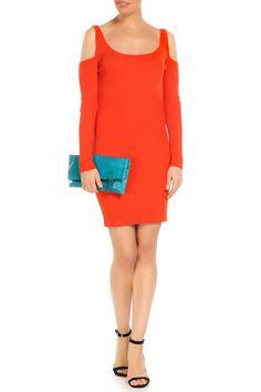 облегающее трикотажное короткое платье оранжевого цвета Cold Shoulder Dress, Dresses, Fashion, Gowns, Moda, Fashion Styles, Dress, Vestidos, Fashion Illustrations