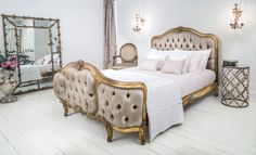 Versailles Curved Luxury Upholstered Bed. #Frenchbedroom