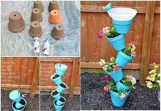 Painted clay flower pots and rebar