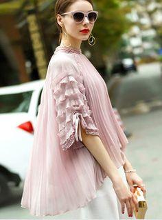 Sweet Loose Lantern Sleeve Stand Collar Blouse With Camis Leotard Fashion, Engagement Dresses, Unique Fashion, Fashion Design, Caftan Dress, Pregnancy Outfits, Collar Blouse, Western Outfits, Dream Dress