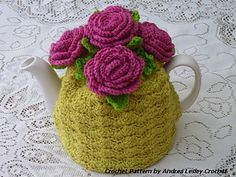 This pattern is for a beautiful crochet rose tea cosy which will fit a standard 4-6 cup tea pot including the much loved 'Brown Betty'.