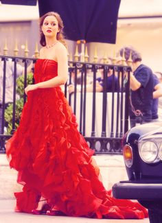 Gossip Girl Fashion. THE red dress. The Paris episode was just full of such beautiful clothes, and this dress topped all the rest.