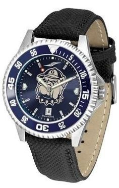 Georgetown University Hoyas NCAA Mens Leather Anochrome Watch by SunTime. $78.95. Men. AnoChrome Dial Enhances Team Logo And Overall Look. Officially Licensed Georgetown Hoyas Men's Leather Wristwatch. Poly/Leather Band. Adjustable Band. Showcase the hottest design in watches today! A functional rotating bezel is color-coordinated to compliment your favorite team logo. A durable long-lasting combination nylon/leather strap together with a date calendar round out this be...