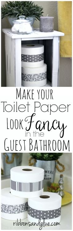 Easy way to make the toilet paper look fancy in the bathroom using inexpensive scrapbooking paper.