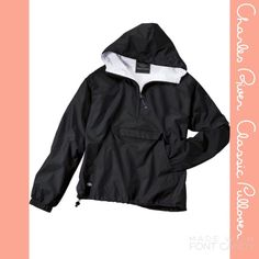 NWOT Charles River Classic Pullover--Sorority Charles River black classic style pullover rain jacket in a women's medium. Never worn after ordering from manufacturer, new condition!! Exterior made with RiverTec nylon to be wind and water resistant, interior lined with white flannel for warmth. Perfect to embroider or use as a sorority rain jacket! Charles River Jackets & Coats
