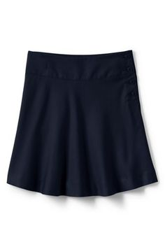 Khaki, 16 - School Uniform Solid Side Button Skirt Top of Knee from Lands' End