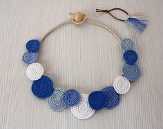 Necklace Circles Crochet Necklace Statement Necklace by stasiSpark Summer Necklace, Blue Necklace, Diy Necklace, Fabric Jewelry, Diy Jewelry, Jewelery, Jewelry Making, Fashion Jewelry, Crochet Accessories