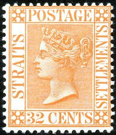 32¢. Orange-vermillion (1.87) - SG70 Strait Of Malacca, Straits Settlements, Crown Colony, Cocos Island, Old Stamps, Labuan, Christmas Island, Southeast Asia, Postage Stamps