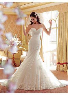 Fabulous Tulle & Satin Sweetheart Neckline Natural Waistline Mermaid Wedding Dress
