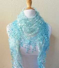 Scarf LT BLUE with floral print and richly by OriginalDesignsByAR