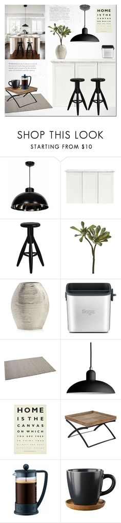 Loft Kitchen by helenevlacho on Polyvore featuring interior, interiors, interior design, maison, home decor, interior decorating, Artek, Kenroy Home, Ulster Weavers and Sage