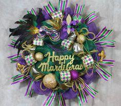 Wreath Mardi Gras, Mardi Gras Wreath, Mardi Gras Door, Front Door Wreath, Purple Gold Green, Wreaths, Mardi Gras front door wreath,