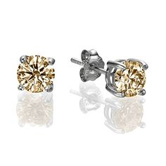 34 CT Amber Round Swarovski Sterling Silver Stud earrings *** For more information, visit image link. Note:It is Affiliate Link to Amazon.