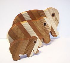 3 Elephant set of Cutting / Cheese Boards Handcrafted by tomroche