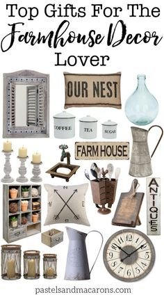 Farmhouse Gift Ideas for the Farmhouse Decor Lover. Beautiful Farmhouse style decor picks.
