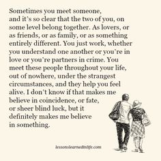 Lessons Learned in Life | You belong together.