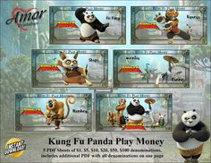 Play Money Kung Fu Panda by AmorPrintables on Etsy Dreamworks Animation Skg, Printable Play Money, Pandas Playing, Monopoly Money, Kung Fu Panda, Party Favor Bags, Teaching Kids, Card Stock, Clip Art
