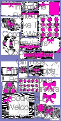 Zebra Pink Patterned Complete Printable Party Kit - Pink Zebra - $15.99 : ScrapPNG, Digital Craft Graphics