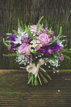 Relaxed Rustic Wild Purple Bouquet   #greenhouse #gardening #saskatoon   www.floralacres.ca/
