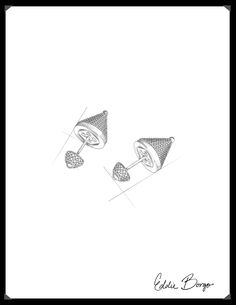 #EddieBorgo | Designer Sketch | Front/Back Pearl and Pavé Cone Earring