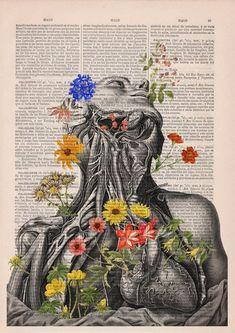 Doctor gift Anatomy Head and Neck - Floral Anatomy - Anatomical Neck - Flower Art Print - Anatomy Illustration - Dictionary Print - SKA101