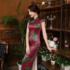Chinese traditional dress fashion design long cheongsam long sleeves evening dresses gambiered Canton gauze cloth qipao - Seasons Chic