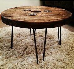 Reclaimed Cable Drum Reel Coffee Table with Hairpin Legs Round Tea Lights Holder