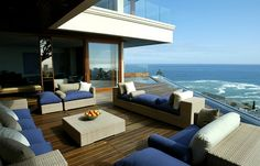 Ellerman Villa is a luxury villa in a superb location in Cape Town. Stylish and chic, the villa is effortlessly comfortable with a modern minimalist design. Nantucket, Outdoor Rooms, Outdoor Living, Porches, Les Hamptons, Cap Ferret, Westerns, Luxury Holidays, Luxury Villa