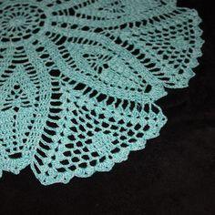 Turquoise large crochet doily