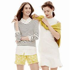 Striped sweater, citron print shorts!