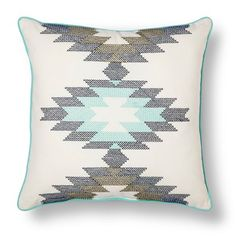 "Room Essentials™ Southwest Cross-stitch Pillow (18x18"") - White/Teal"