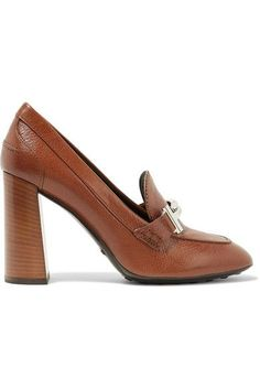Heel measures approximately 70mm/ 3 inches Tan textured-leather Slip on Made in Italy