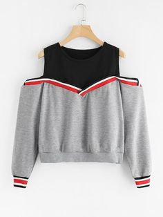 Shop Contrast Striped Trim 2 In 1 Marled Pullover online. SHEIN offers Contrast Striped Trim 2 In 1 Marled Pullover & more to fit your fashionable needs. Teen Fashion Outfits, Cute Fashion, Trendy Outfits, Girl Fashion, Cute Outfits, Fast Fashion, Fashion Online, Mode Kawaii, Jugend Mode Outfits