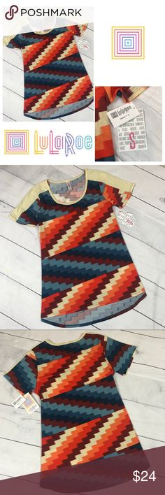 "LuLaRoe NWT Classic T Small LuLaRoe Classic T Classic Tee Short Sleeve Shirt Top Brand new with tags Size Small Colorful Zig Zag Block Pattern Pit to Pit 17.5 Length 25"" LuLaRoe Tops Tees - Short Sleeve"
