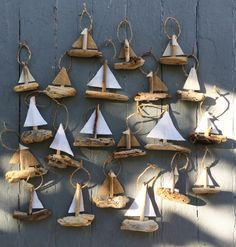 Hanging Sailboat Mini's - Driftwood Christmas Ornament - Rustic Ornament